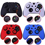 Pandaren Soft Silicone Thicker Skin Cover for Xbox One Controller Set (skin X 4 + Thumb Grip X 8)(Black,White,Red,Blue)
