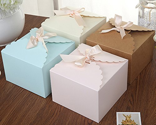 Chilly Gift Boxes, Set of 12 Decorative Treats Boxes, Cake, Cookies, Goodies, Candy Handmade Bath Bombs Shower Soaps Gift Boxes Christmas, Birthdays, Holidays, Weddings (Solid Color)