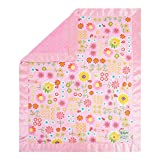 My Blankee Daisy Dance Pink Cotton Blanket with Minky Dot, Rose Pink, 30'' x 35''