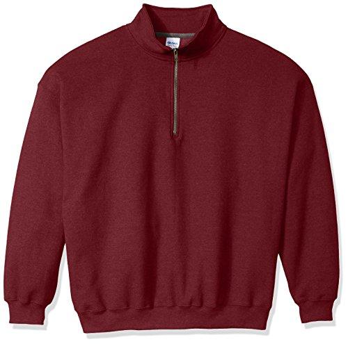 Gildan Men's Fleece Quarter-Zip Cadet Collar Sweatshirt, Maroon, XX-Large