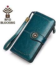 KELEEL Women's RFID Blocking Wallet Genuine Leather Clutch Wallet Card Holder Organizer Ladies Purse - brown - 7.6 x 1.37 x 4.1 inch