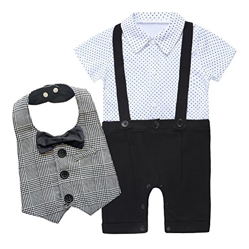 Baby Boys' Gentleman Romper Jumpsuit Overalls Rompers With Bib (Label 95 / 18-24 Months, Black) (Baby Santa Outfit For Boy)