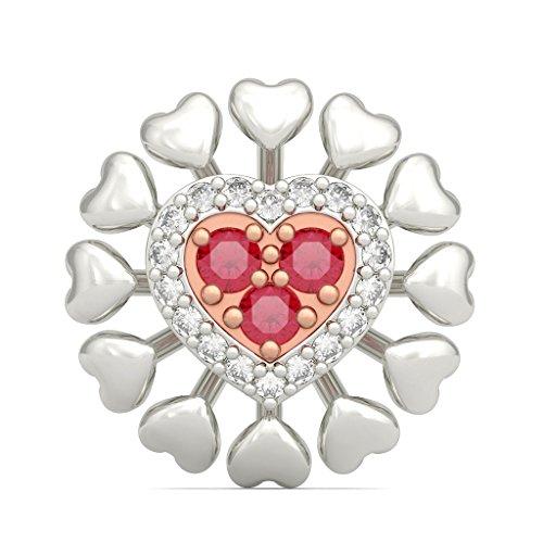 14K Or blanc 0,16CT TW Round-cut-diamond (IJ | SI) et rubis Boucles d'oreille à tige
