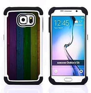 """Samsung Galaxy S6 / SM-G920 - 3 en 1 impreso colorido de Altas Prestaciones PC Funda chaqueta Negro cubierta gel silicona suave (Modelo de la textura del panel del arco iris Líneas"""")"""