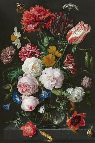 Abraham Mignon, Still Life with Flowers in a Glass Vase by Dutch Florals, Art Print Poster, Paper Size 14