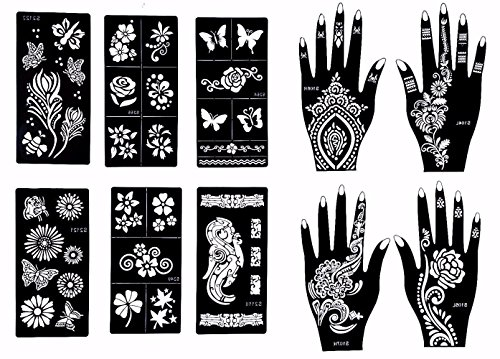 Stencils For Henna Tattoos 10 Sheets Self Adhesive Beautiful Body