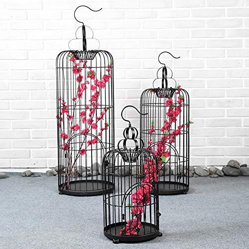 jaula Decoración de Marco de Flor pájaro Negro de Hierro Forjado ...