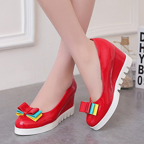 Easemax Womens Trendy Burnished Bows Color Block Round Toe Mid Wedge Heel Pumps Shoes Red HY2OAM4kV