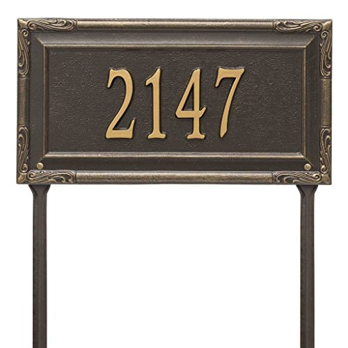 Black Pewter Address Number - Comfort House Personalized Cast Metal Address plaque displays your house address number - Lawn mount - stakes included - # P2832l1 Custom House Number Sign