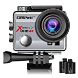 Campark ACT74 Action Camera 4K 30fps WiFi Ultra HD Waterproof Sports Action Cam,Free Mounting Accessories 2 Rechargeable Batteries Bikes Motorbike Snorkeling(Silver)