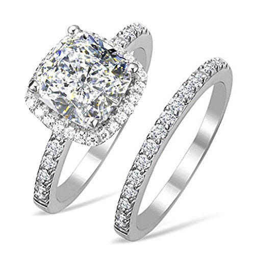 Diamonbella.com Diamonbella 101 facets 2 Carat Princess Cushion Cut NSCD Simulated Diamond Ring Band Set Solid 925 Silver Halo DBCUSHSET7 price tips cheap