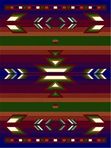 Navy 2 X 8'' Runner Area Rug Southwestern Design Apache Native American Theme