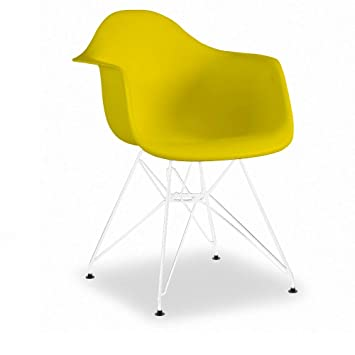 Attrayant Decopresto 1 X Fauteuil Design Inspiration Scandinave Pieds: Acier Blanc  Assise : Plastique Jaune