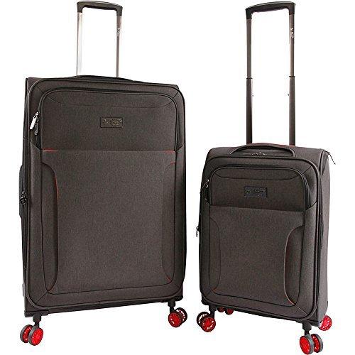 ORIGINAL PENGUIN Luggage Platt 2 Piece Set Expandable Suitcase with Spinner Wheels, Black Crosshatch/Red by Original Penguin