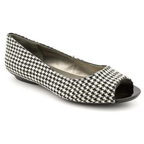 Bandolino Wilimena Womens Size 8.5 Black Open Toe Textile Flats Shoes