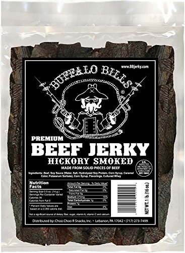 Buffalo Bills 16oz Premium Hickory Beef Jerky Pieces (hickory smoked jerky in random size pieces) (Best Selling Beef Jerky)