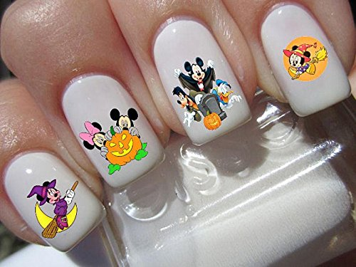 (Mickey & Minnie Mouse halloween scary disney nail art waterslide decals nail design set)