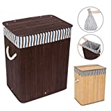 WOWLIVE Bamboo Laundry Hamper with Lid Laundry Basket Rectangular Collapsible Organizer Dirty Clothes Washing Bin (40L)
