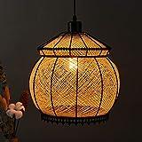Arturesthome IKEA Handmade Rattan Ceiling Light, Natural Color Creative Lantern, Home Decoration Lampshade, E26/E27 Base 15 Foot, Transparent Cord Chandelier
