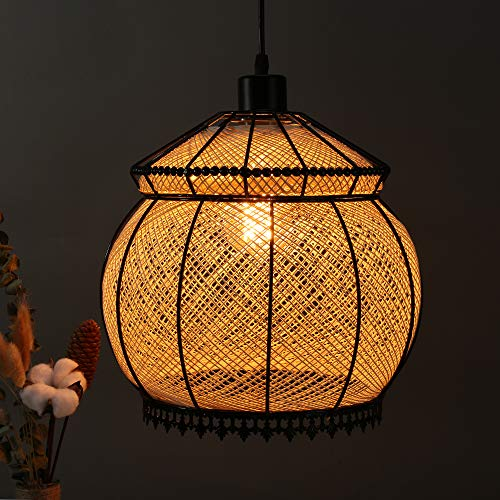 Arturesthome IKEA Handmade Rattan Ceiling Light, Natural Color Creative Lantern, Home Decoration Lampshade, E26/E27 Base 15 Foot, Transparent Cord Chandelier by Arturesthome