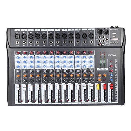 ammoon 120S-USB 12 Channels Mic Line Audio Mixer Mixing Console USB XLR Input 3-band EQ 48V Phantom Power with Power Adapter Channel Audio Mixing Console