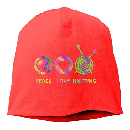 Currfied Peace Love Knitting Beanies Cap For Men Women (Peace Love Knitting)