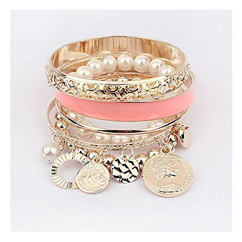 Lisingtool Coin Pearl Hollow Bracelet Jewelry (Pink)