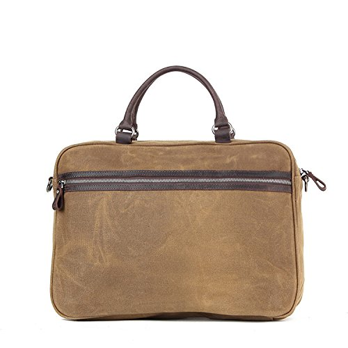 Khaki Men's Document Wax Business Bag Crossbody Men Vintage Official Oil Shoulder Canvas fqPf1
