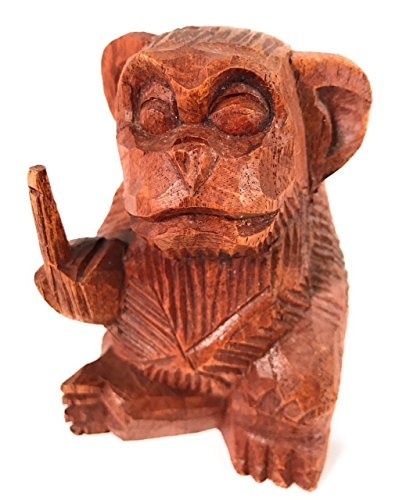 TikiMaster Rude Monkey Carved 4.5'' Bad Monkey Business Flipping the Bird | #raw02 by TikiMaster