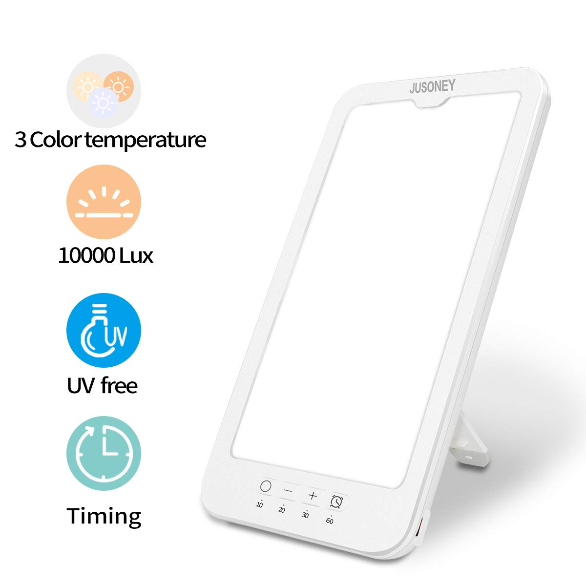 JUSONEY Light Therapy Lamp, Full Spectrum of Uv-Free 10000 Lux Brightness LED Light, Sun Light with 5 Levels of Brightness and Three Different Color, Suitable for Office, Sleep, Winter
