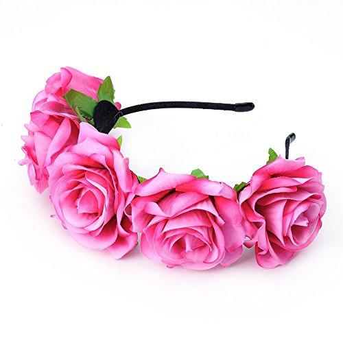 DreamLily Rose Flower Crown Wedding Festival Headband Hair Garland Wedding Headpiece BC16(Fuchsia)