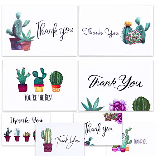 Nest Designs Cactus Thank You Cards for Succulent Thank You Notes! Bulk Set of 48 Blank Cards with Envelopes for Baby Shower Note Cards, Wedding Thank You Cards and Bridal Shower Thankyou Card]()
