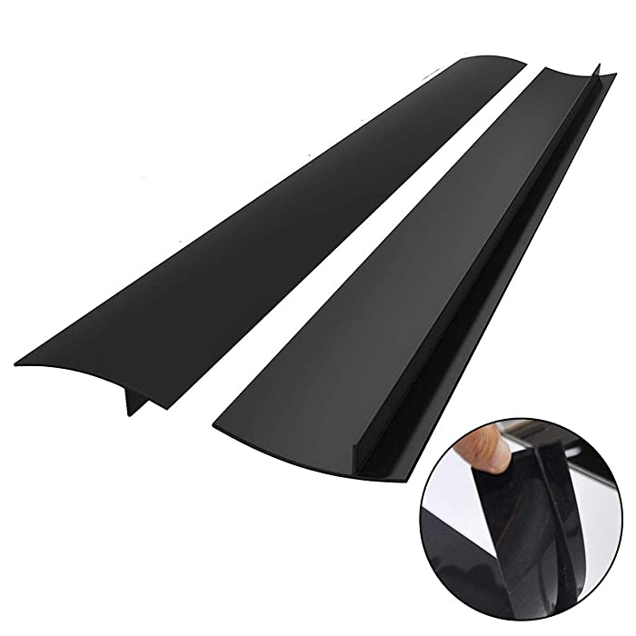 Kitchen Silicone Stove Counter Gap Cover, Easy Clean Heat Resistant Wide & Long Gap Filler, Seals Spills Between Counter, Stovetop, Oven, Washer & Dryer, Set of 2 (21 Inches, Black)