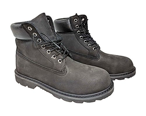 NYC Tough Boot Company Steel Toe Water Resistant Men's Leather Work Boots with Natural Blend Rubber Sole (8, Black Nubuck) -