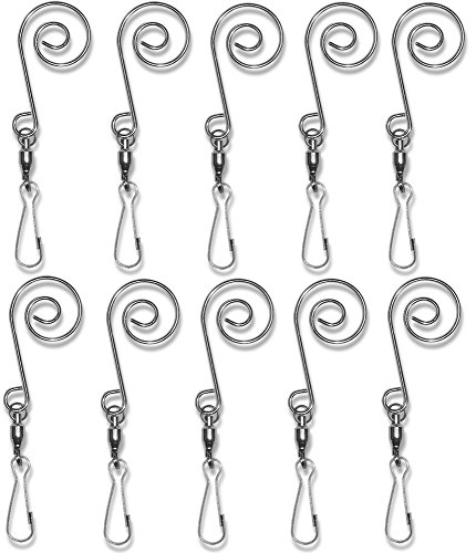 BANBERRY DESIGNS Swivel Hook Clips - Set of 10 Decorative Scroll Ornament Hangers - Hanging Wind ()