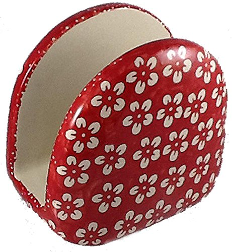 (Polish Pottery Napkin Holder in Beautiful Pattern J8CZ or Valentine Red)