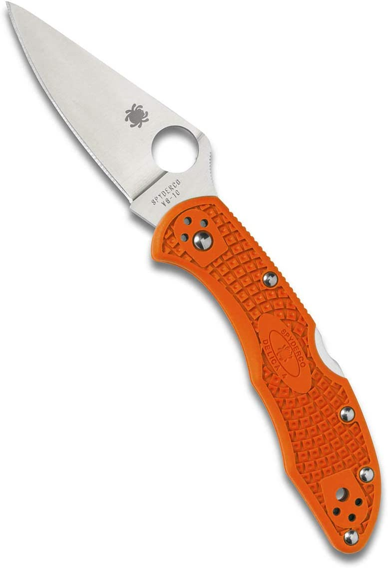 Spyderco Delica 4 Lightweight 7.15 Signature Folding Knife with 2.90 Flat-Ground Steel Blade and High-Strength FRN Handle – PlainEdge Grind
