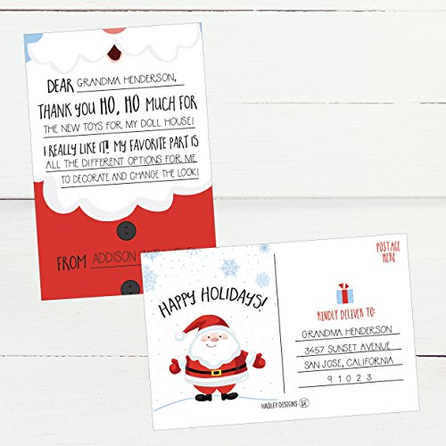 25 Christmas Holiday Kids Thank You Cards, Santa Fill In the Blank Thank You Notes, Personalized Card For Birthday Party or Christmas Gifts, Stationery For Children Boys and Girls Photo #4
