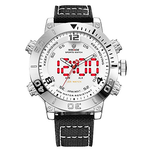 WEIDE Men Analog Digital Watch Waterproof LED Quartz Dual Time Watches for Men (White)