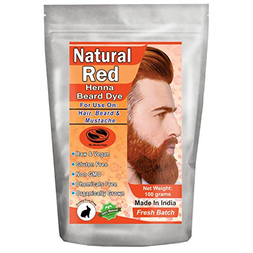 1 Pack of Natural Red Henna Beard Dye for Men - 100% Natural & Chemical Free Dye for Hair, Beard & Mustache - The Henna Guys