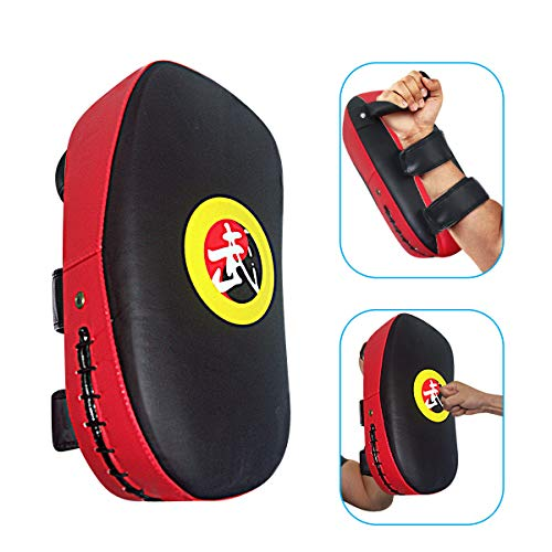 TLBTEK 1Pcs Taekwondo Kick Pad PU Muay Thai Pads MMA Karate Kick Pads Kickboxing Training Pads Martial Arts Punching Pads Leather Strike Curved Kicking Shield (Red)