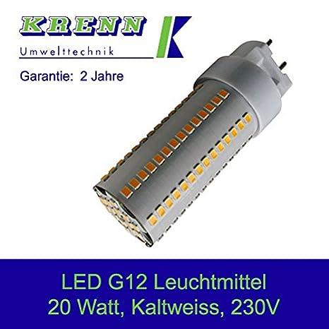 Bombilla LED G12 - 20, 20 W, G12 Socket, AC 85 - 265 V, 2100 Lúmenes, Luz Blanca Fría: Amazon.es: Iluminación