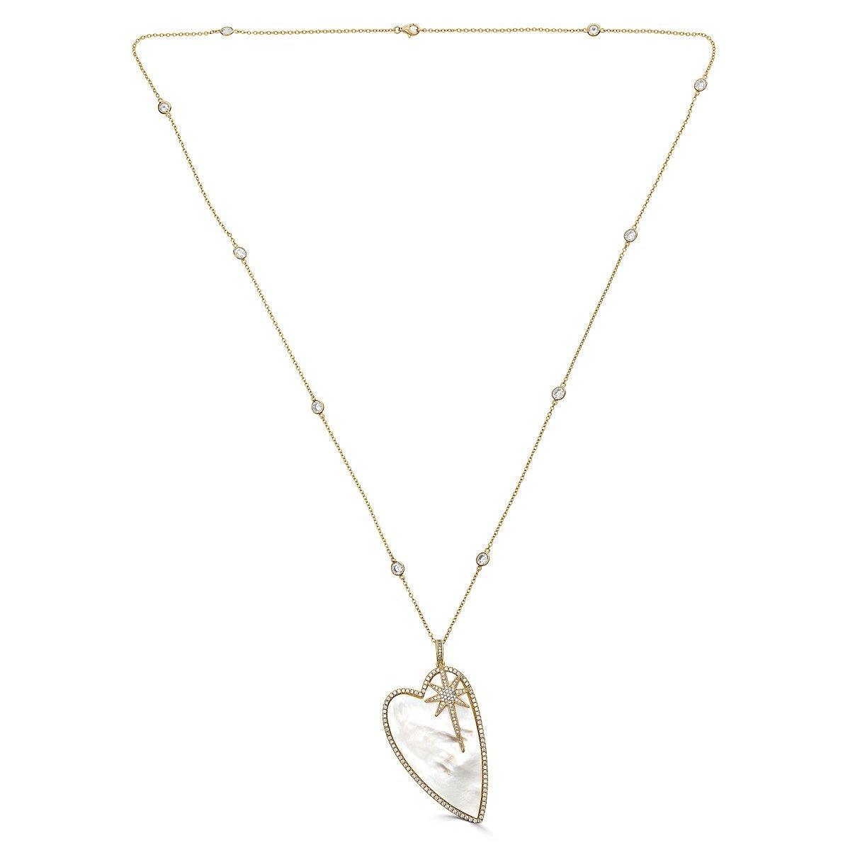 Gold Plated Sterling Silver Mother of Pearl Heart Necklace by Caratina