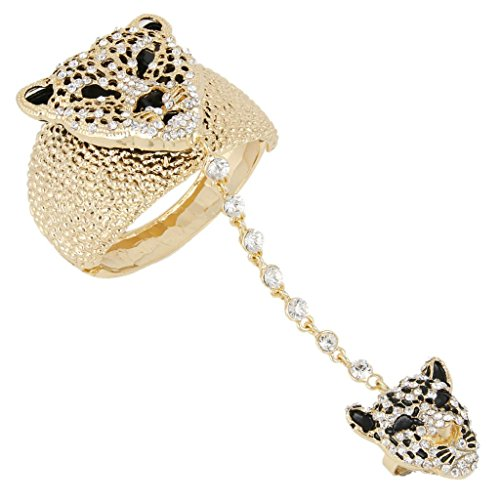 EVER FAITH Austrian Crystal Gorgeous Leopard Head Bracelet Adjustable Ring Set Clear Gold-Tone