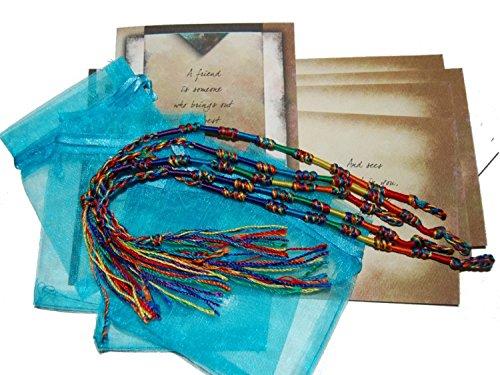 Smiling Wisdom - 5 Gift Sets: 5 Colorful Friendship Macrame Bracelets - 5 Friendship Greeting Cards for Girls Boys (5 Macrame Bracelets)