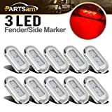 Partsam 10x 3 Clear/Red LED Oblong Courtesy Light Garden Accent Deck Lamp Polished