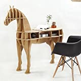 OTHER Home Decor Living Room End Table Wooden Horse Desk, Willow Color