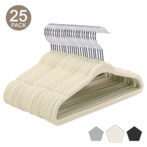 (VEEYOO Ultra Thin Velvet Baby Hangers - 25 Pack - Heavy Duty, Non Slip & Space Saving Small Clothes Hangers for Babies 0-48 Months - 360 Degree Swivel Hook Infant Toddler Hangers - Ivory)