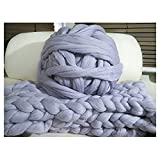 100% Non-Mulesed Chunky Wool Yarn Big chunky Yarn Massive Yarn Extreme Arm Knitting Giant Chunky Knit Blankets Throws Grey White (250g, grey)