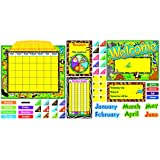 Trend Enterprises 132 pieces Jungle Fun Calendar Bulletin Board Set (T-8222)